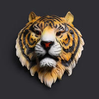 Creative Animal Tiger Head Home Furnishing Resin Wall Mural Wall Hanging Bar Living Room Wall Decoration