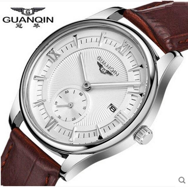 العلامة التجارية الشهيرة GUANQIN ساعة الرجال الهاتفي مقاوم للماء ساعة فاخرة موضة رجالي مصمم ساعة كوارتز ساعات المعصم الذكور الذهب على مدار الساعة