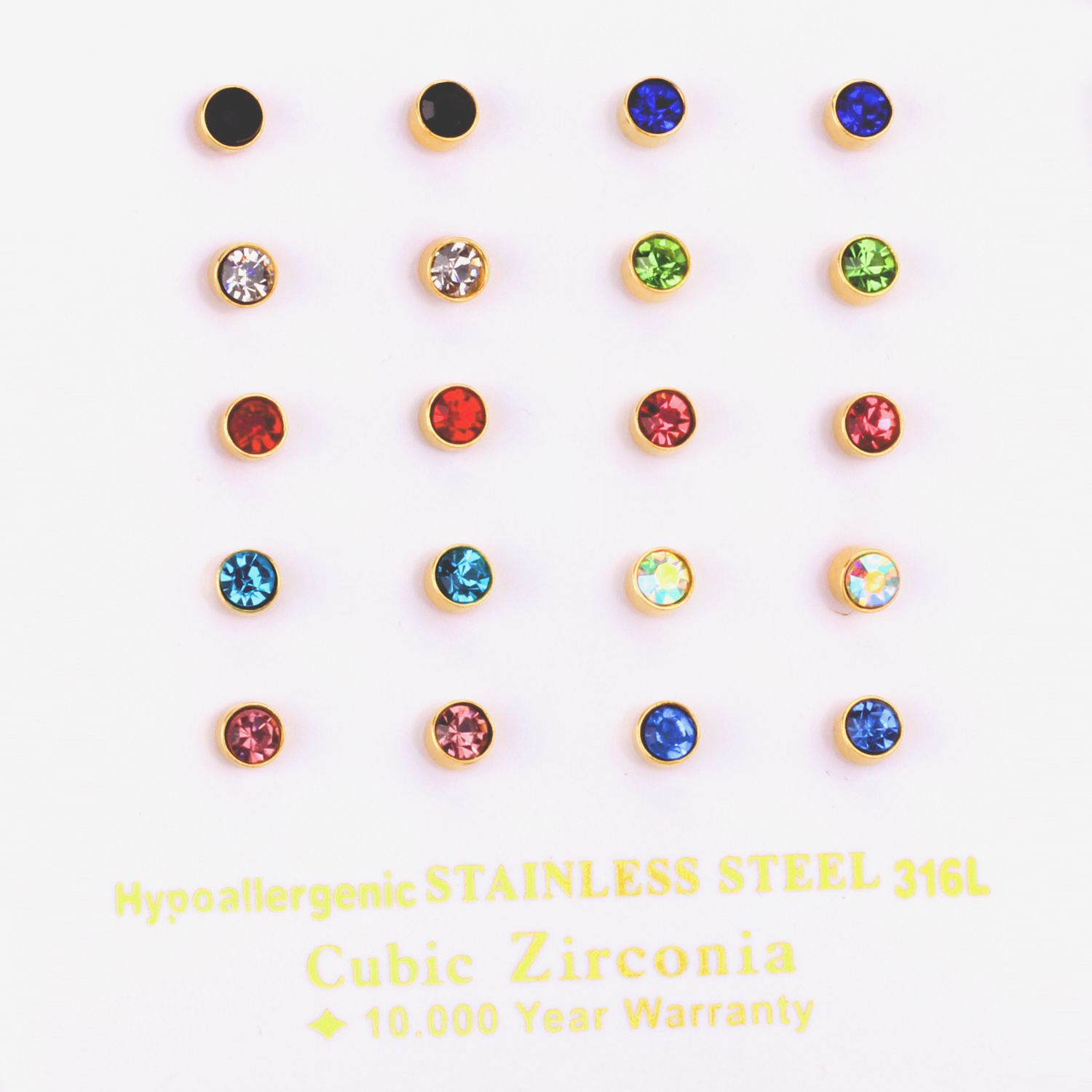 10pairs/lot New Design Crystal Round 4mm Stud Earrings for Women Men Earring Fashion Jewelry