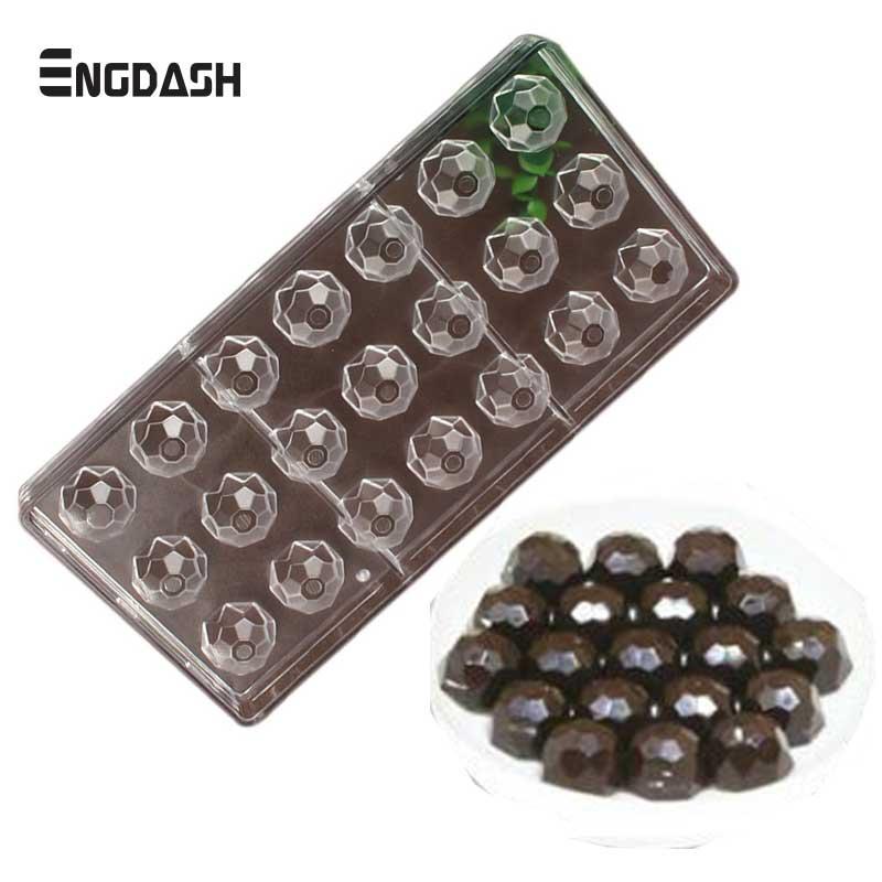 ENGDASH 21 Holes 3D Sphere Chocolate Molds Fancy Diamond Shape Polycarbonate Mold Food Mould Baking Tools