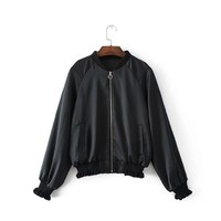 Women New Raglan Sleeve Frill Trim Embroidered Bomber Jacket Fashion Print Flare Stand Collar Coat