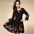 Высокое качество royal вышивка розовое платье для женщин 2015 осень и зима новая Европа бренды взлетно-посадочной полосы пульс размер бальное платье платье