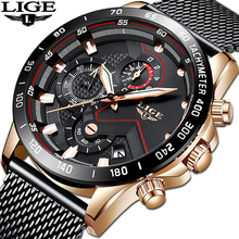 LIGE 2019 NEW Watch Men Top Brand Luxury Military Army Sports Casual Waterproof Mens Watches Quartz Stainless Steel Wristwatch