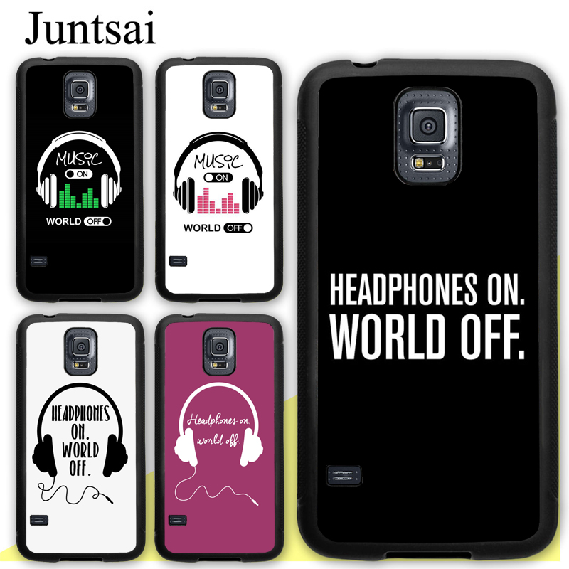Juntsai Headphones On World Off TPU Case For Samsung Galaxy S9 S8 S10 Plus Lite S5 S6 S7 Edge Note 9 5 8 Cover Back Shell