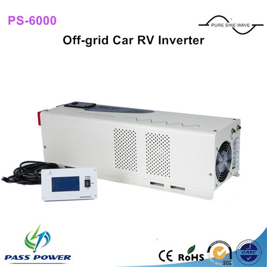6561350e382d2 أفضل جودة DC 24v48v إلى AC 110 v 220 v 6000 w نقي شرط موجة سيارة عاكس  الطاقة شاحن