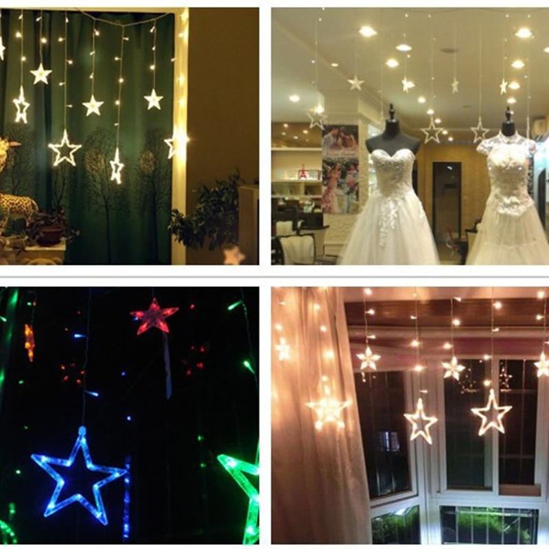 Högkvalitativ 110V / 220V Romantisk LED String Star Gardin Ljus Jul - Festlig belysning - Foto 6