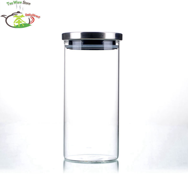 4 Pcslot 37 fl.oz  1100ml Heat Resistant Glass Handmade Tea Candy canister wStainless Steel Lid Size L storage jar gift box