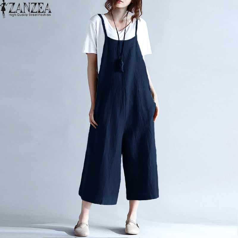 ZANZEA Womens Summer Spaghetti Straps Pierna Ancha Harem Pantalones - Ropa de mujer