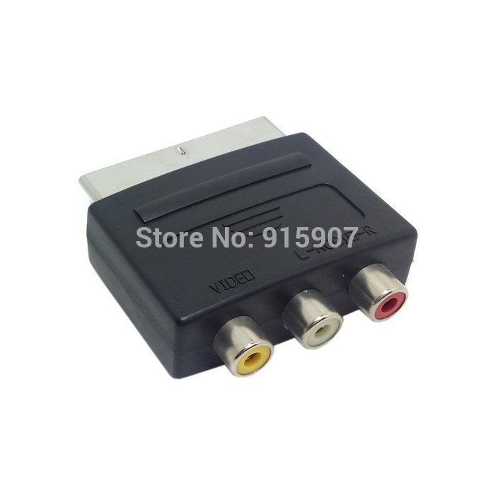 Cablecc CY Audio Video Composite 3 RCA AV to Scart 21pin Adapter for Microsoft Xbox & Europe HDTV