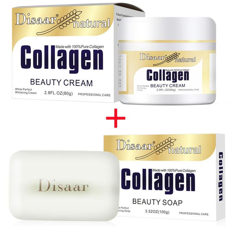 Disaar Collagen Power Lifting Cream 80g Face Cream+ Collagen Handmade Soap Face Cleanser Anti-aging Anti Wrinkle Set