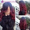 7A rojo 1bT99J dos tonos cordón del pelo humano pelucas de cabello humano frente de la peluca y peluca llena del cordón del pelo humano peluca ombre brasileña virginal ondulado pelucas