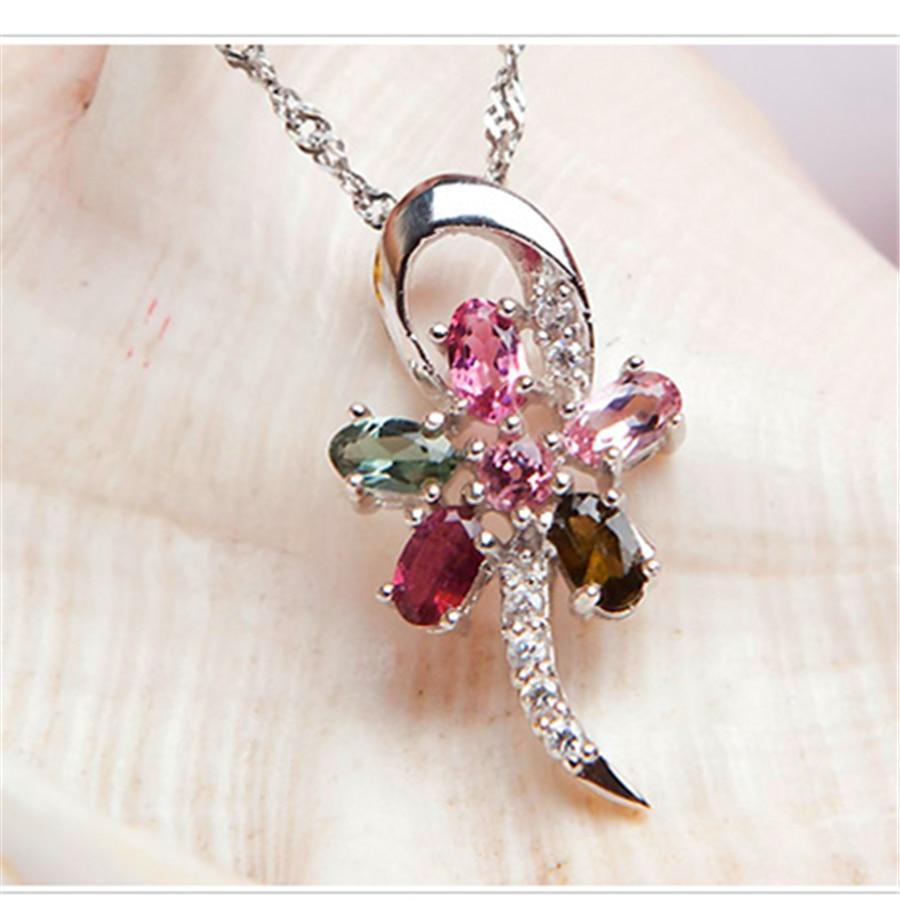 Argent plaqué bijoux de mode pendentif libellule femmes collier mélange de couleurs amour naturel Tourmaline Quartz cristal pendentif à breloque