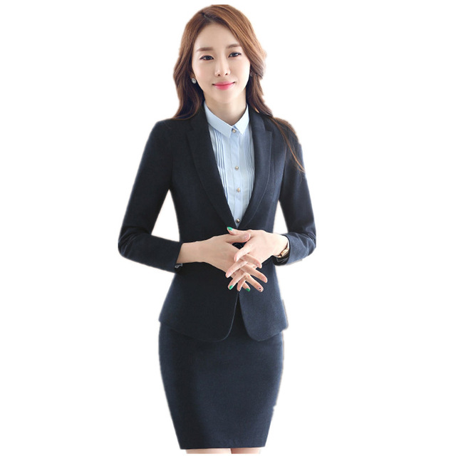 630be24251b8 Fmasuth Business Woman Suit Autumn Full Sleeve Blazer Jacket+Formal Skirt 2  Pieces Ladies Office Skirt Suit ow0407