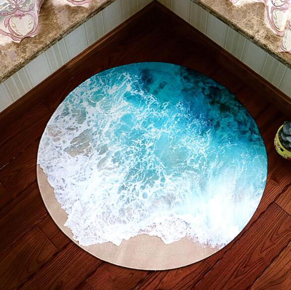 3D Ocean Scene Round Carpet Area Rugs Kids Room Bathing Rug Bedroom Mat  Non Slip 60*60 80*80CM Computer Mat