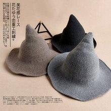 Шерстяная шляпа ведьмы, шерстяная шляпа ведьмы, аксессуары для женщин и мужчин, женская черная шерстяная шляпа-ведро