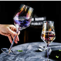 Rainbow Crystal Glass Goblets Colorful Wine Glass Juice Drink Champagne Goblet Party Barware Dinner Water Cup Home Decoration