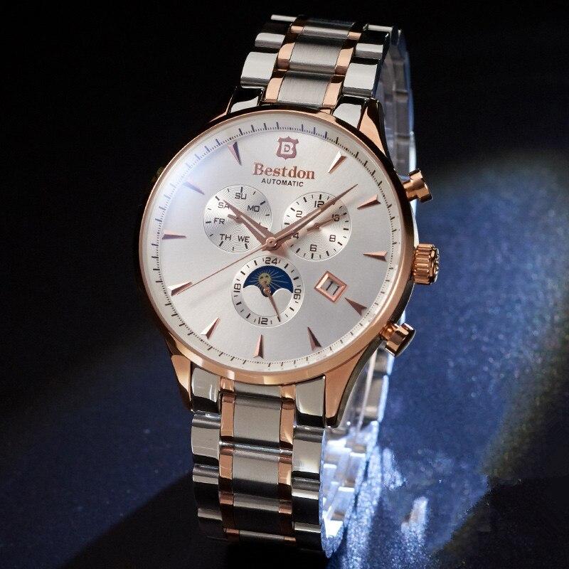 8fdbb76ff5c Relógios de Luxo Ouro dos Calendário com a Fase 2017 Homens da Marca  Bestdon Negócios Relógio Mecânico Ouro dos Calendário de Pulso com a Fase  Lua ...