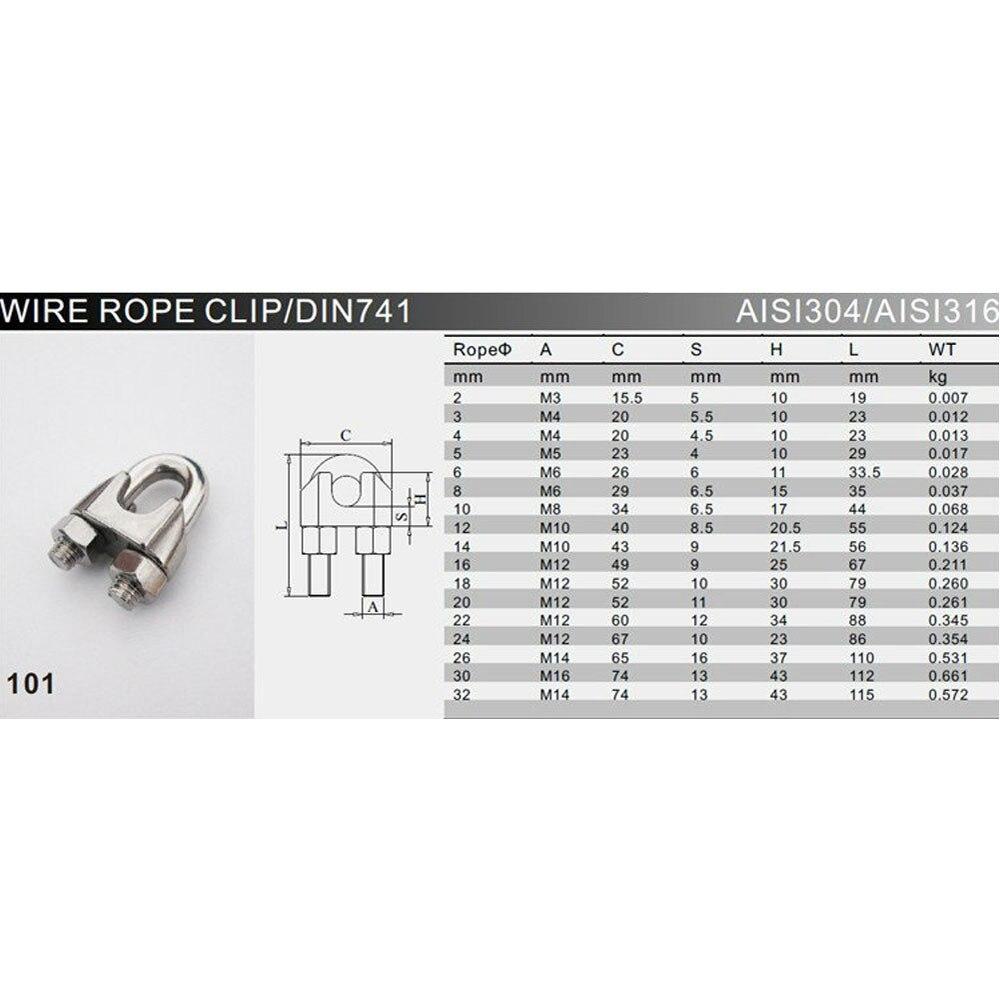 Silber U Form 304 Edelstahlseil Drahtseil Clip Clamp M5 für 5mm ...