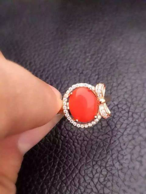 Natural red coral gem Ring Natural gemstone ring 925 sterling silver trendy round Bow for women girl wedding party Jewelry