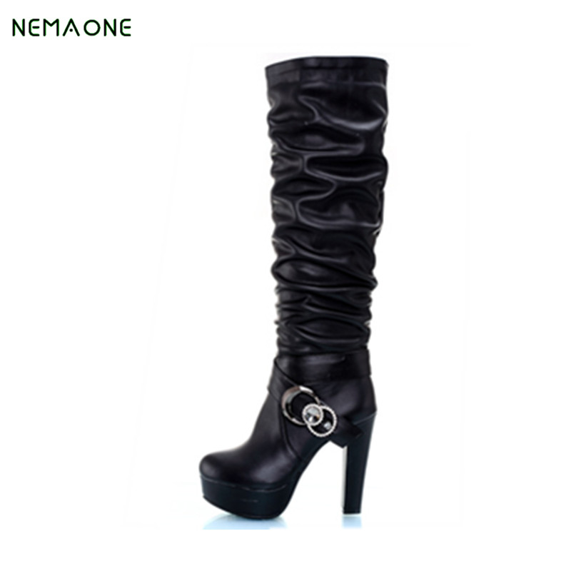 Women Boots Thin High Heels Boots Women Sexy Over Knee Ladies Boots Spring Autumn Shoes Black White Shoes Plus size 9 10 42 43 brand new fashion black yellow women knee high cowboy motorcycle boots ladies shoes high heels a 16 zip plus big size 32 43 10