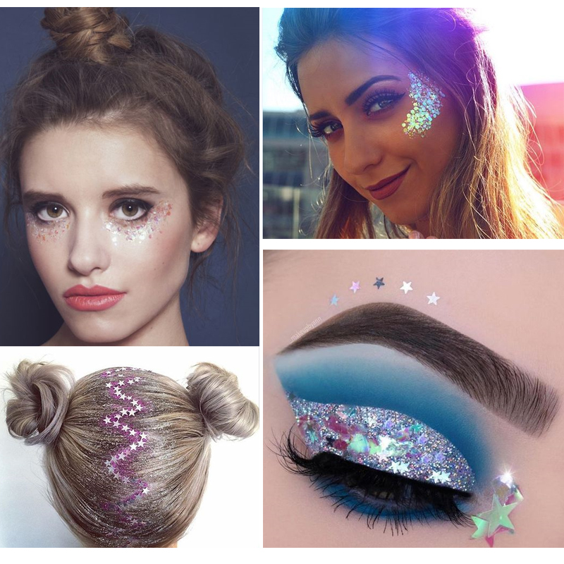 Festival Party Diy Makeup Cosmetic Face Body Art Eyebrow Adhesive Crystal Glitter Jewels Eye Tattoo Stickers Makeup Glitter Body Glitter Aliexpress
