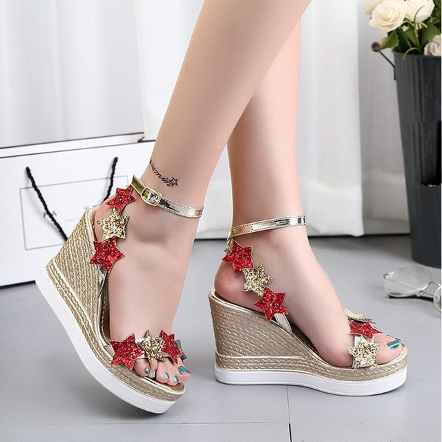 Women Fish Mouth Slope Casual Wedges Sandal Platform Leisure Lady Ankle Strap Sandals