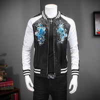 2016 Korean Slim Fit Mens Jackets Autumn Casual Long Sleeve Jacket Male Stylish Print Windbreaker Casual