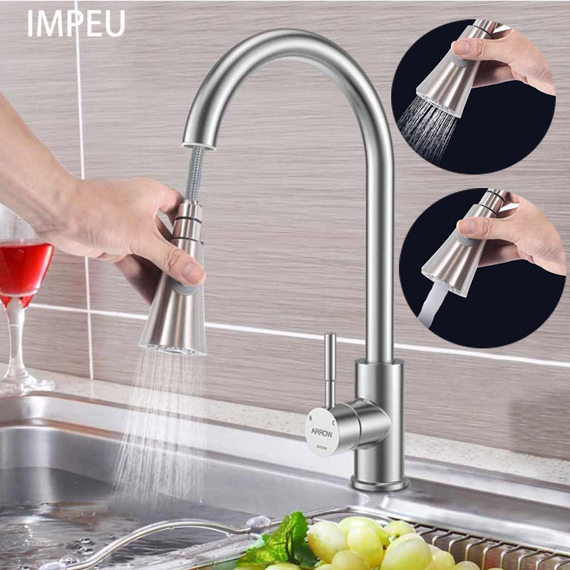 US $59.99 |Best Commercial Stainless Steel Single Handle Pull Down Sprayer  Kitchen Faucet, Pull Out Kitchen Faucets Brushed Nickel-in Kitchen Faucets  ...