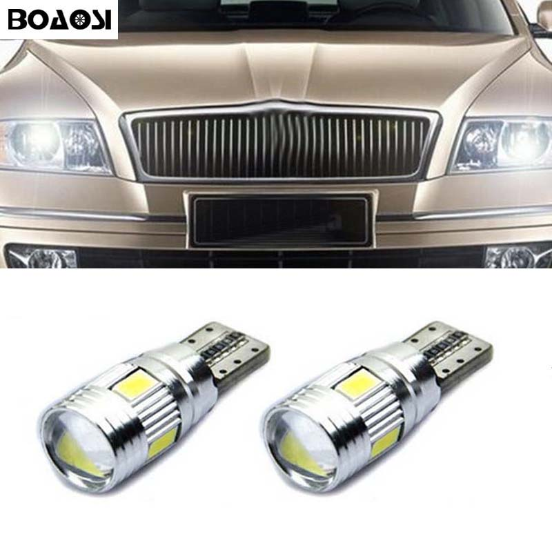 BOAOSI 2x T10 LED W5W Samsung 5630SMD Car LED Auto Lamp Light Bulbs For skoda octavia 2 a7 a5 fabia rapid yeti superb