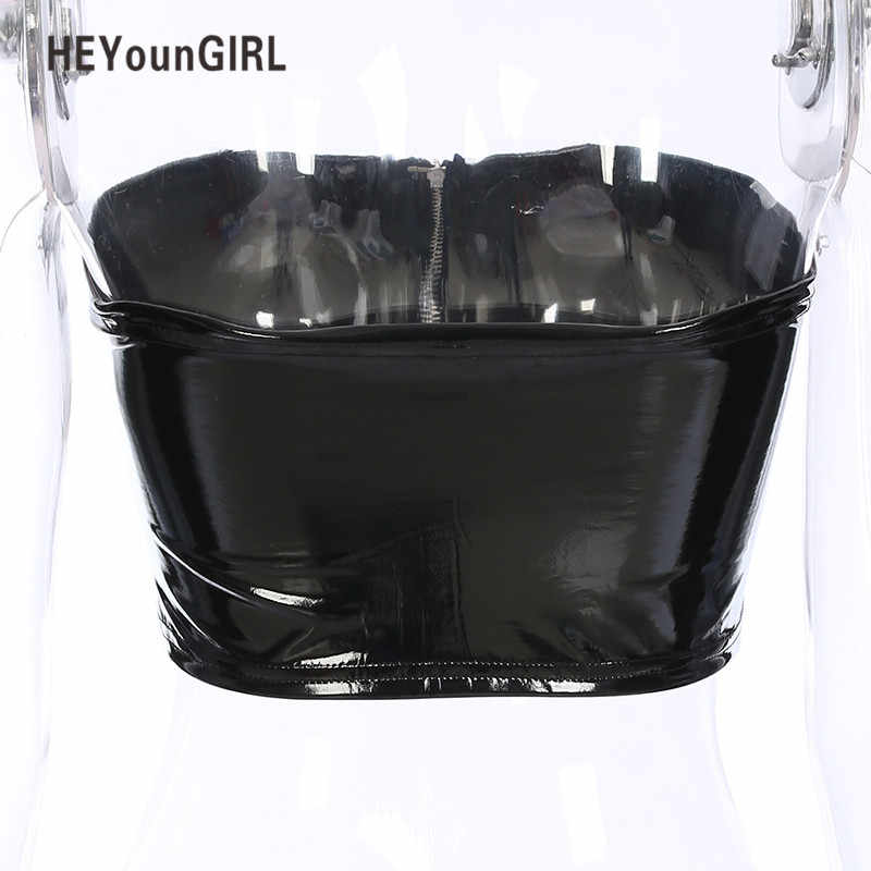28717216a9 ... HEYounGIRL Black Strapless Sexy Tube Top Faux Leather Bandeau Crop Top  Summer Womens Zipper Wrap Chest ...
