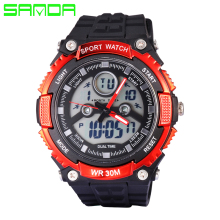 New SANDA Top Brand Men Dual Display Watch LED Sports Military Watches  Analog Quartz Digital Watch relogio masculino
