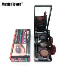 Music Flower Brand Makeup Eyeliner Gel & Eyebrow Powder Palette 3 In 1 Brown Black Eyeliner Waterproof  Eye Brow Enhancers