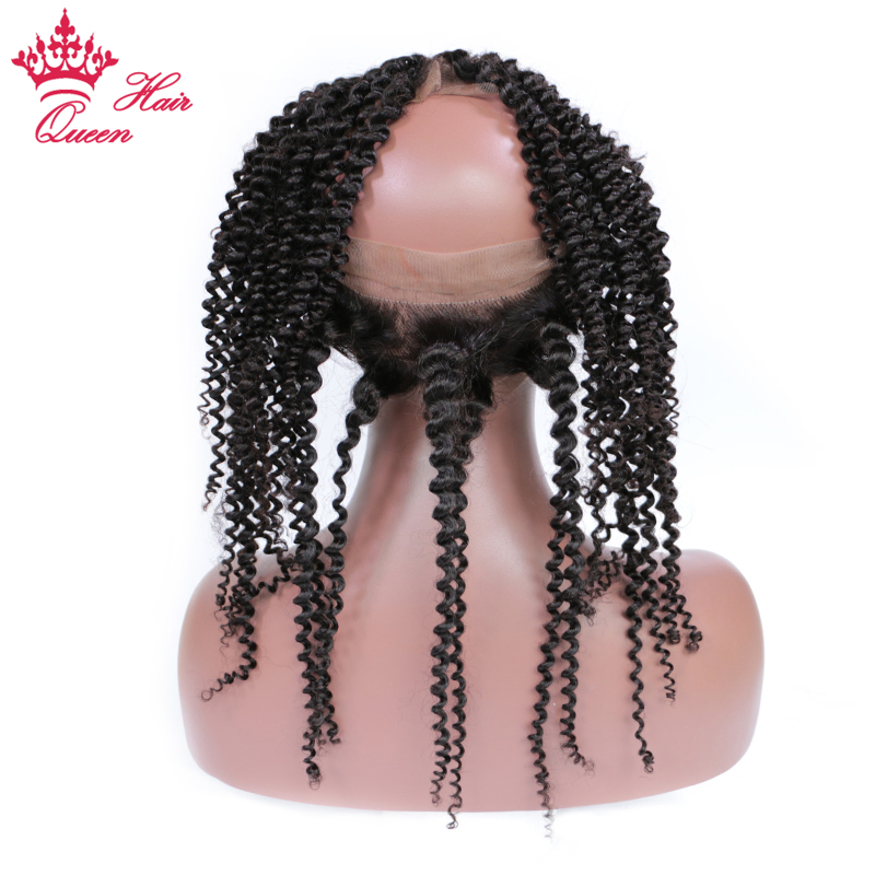 360 Lace Frontal Brazilian Kinky Curly Lace Closure Natural Color  Remy Human Hair Frontal with Baby Hair 12-20 Queen Hair ...
