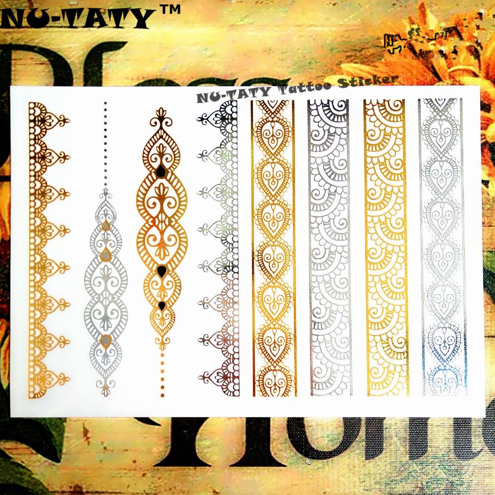 Nu-TATY 24 style Temporary Tattoo Body Art, Lace Desgin Gold Designs, Flash Tattoo Sticker Keep 3-5 days Waterproof 21*15cm 9