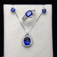 100% Natural Tanzanite Jewelry Sets For Women Solid Silver Oval Blue Gemstone Fine Jewelry Ring Stud Earrings Pendant CCS004 3