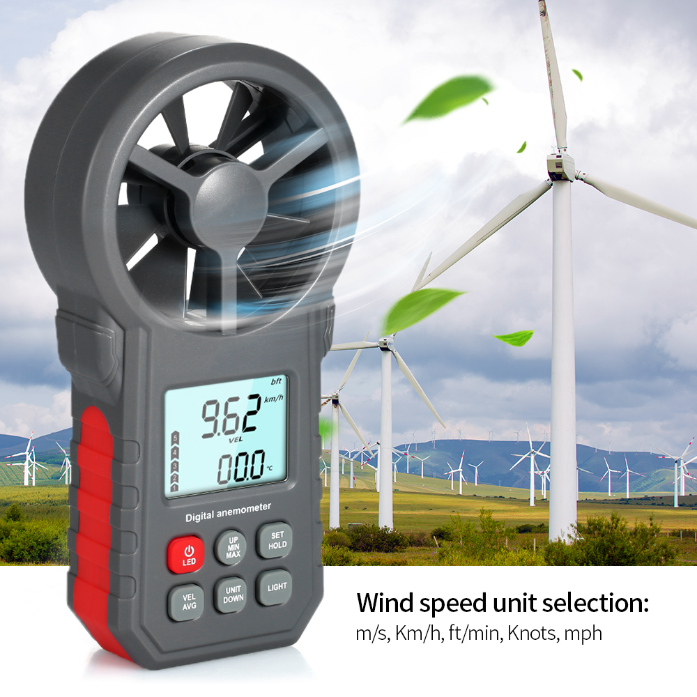 LCD Digital Anemometer Wind Speed Meter  Wind Sensor /Air Velocity/Air Temperature Test Tool Wind Speed Gauges With Flashlight