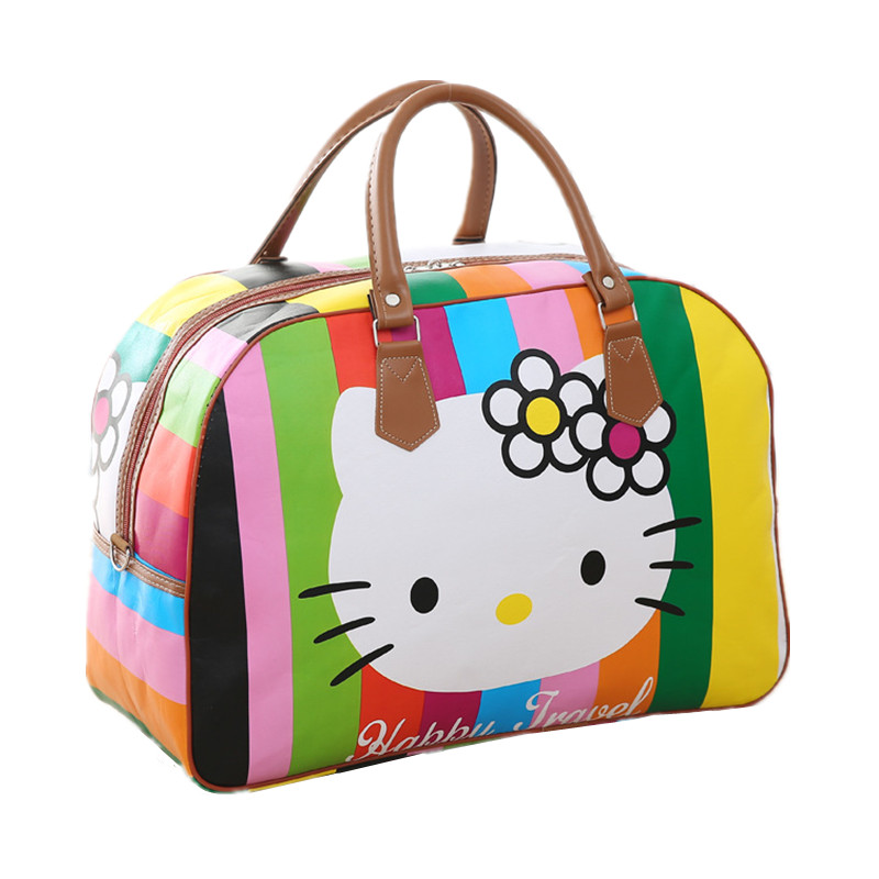 Women PU Leather Travel Bag Cute Hello Kitty Packing Cubes Duffel Pouch Organizer Luggage Accessory Overnight Weekend Handbag