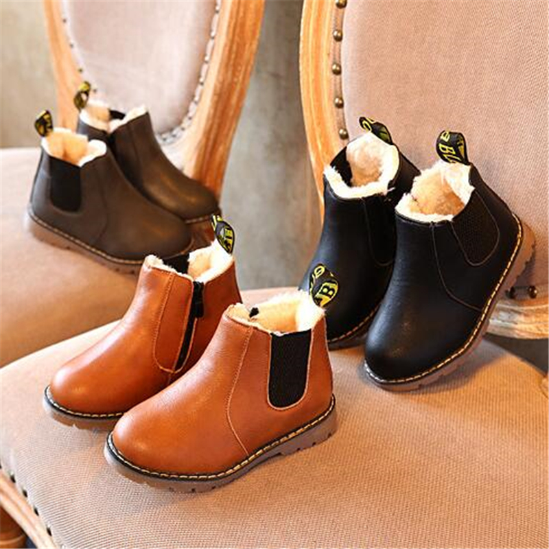 NEW 2019 Children Ankle Boots Spring Autumn Leather Boots Waterproof Non-slip Boys Girls Cotton Shoes Winter Snow Boots 3BB