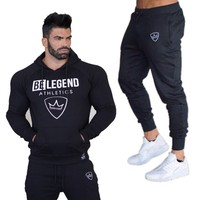 Gyms New Men's Sets 2018 Fashion Sportswear Tracksuits Sets Men's Shark Hoodies+Pants casual Outwear Suitstrousers men's sweater