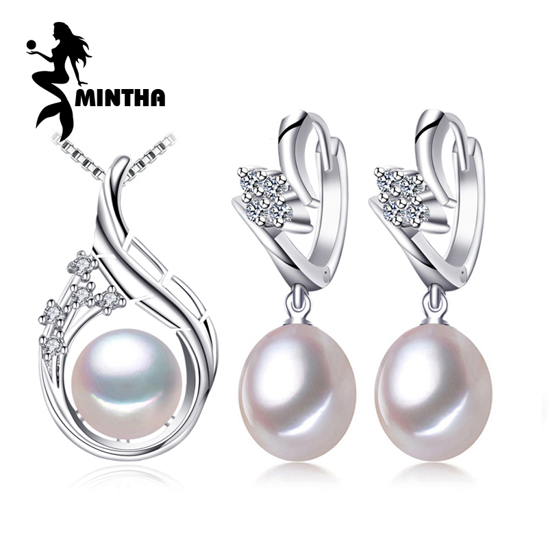MINTHA 925 Sterling Silver earrings,natural Pearl jewelry sets for women,bohemian ethnic earrings set Pendant necklace
