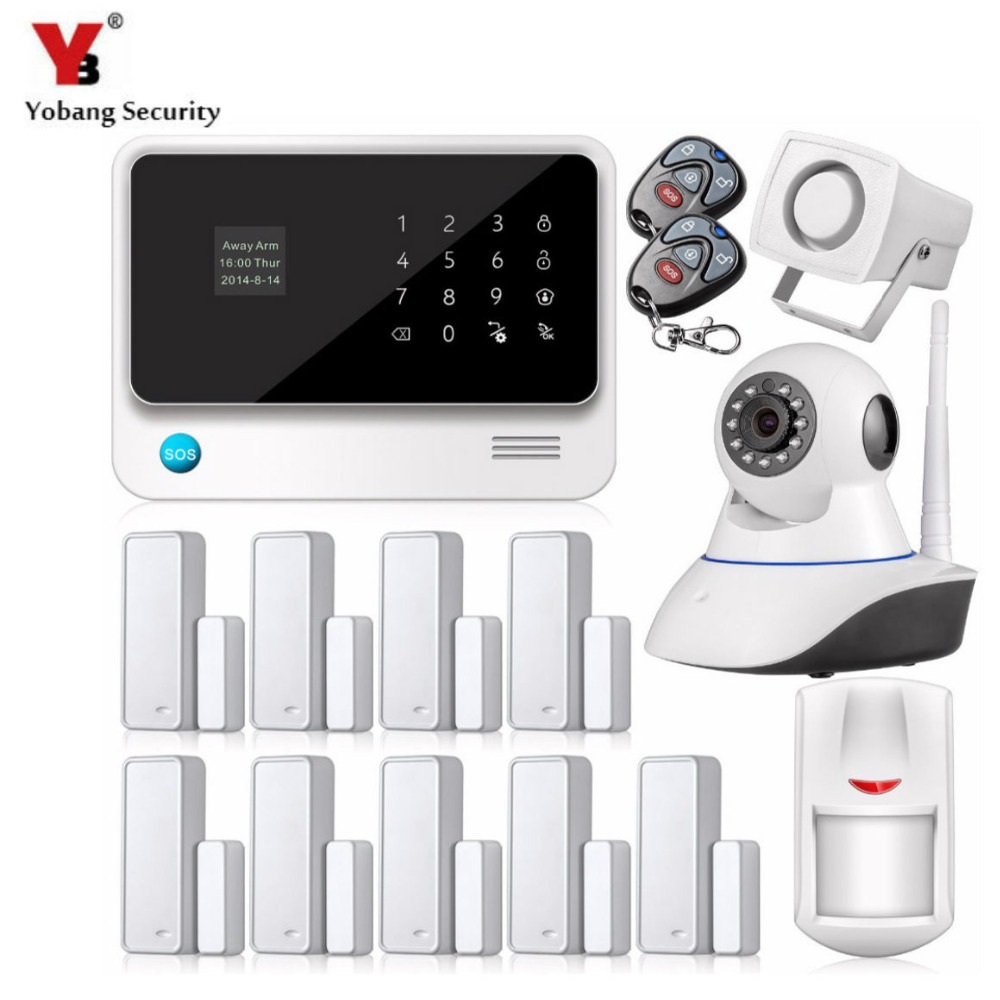 YobangSecurity GSM Wireless Home Security Alarm System IOS Android APP Door Magnetic Sensor G90B WiFi GPRS GSM Alarm System yobangsecurity 2016 wifi gsm gprs home security alarm system with ip camera app control wired siren pir door alarm sensor