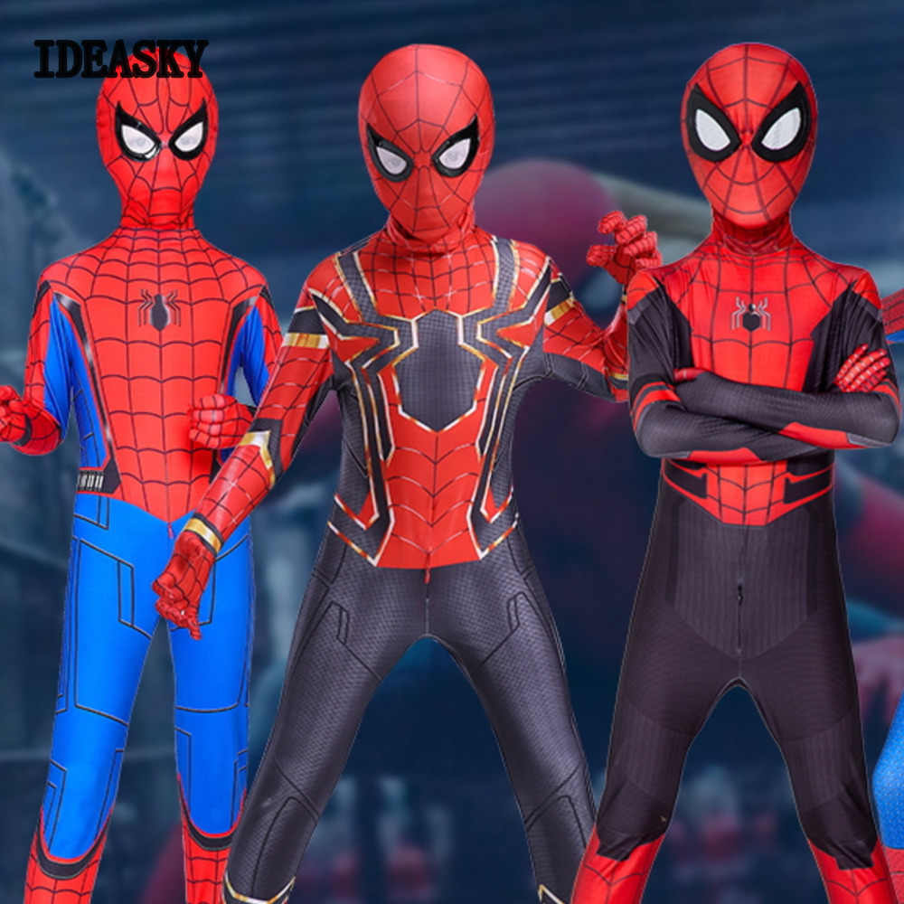 Spiderman far from home Homecoming Cosplay Costume Iron Spider Man miles morales Superhero Bodysuit Suit child kids boys Zentai