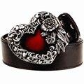 Мода мужской кожаный ремень металлические пряжки сердце розы дизайн панк-рок ремни женщины декоративные пояса хип-хоп пояса