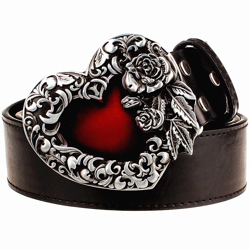 Fashion Male Leather Belt Metal Buckle Heart Of Rose Design Punk Rock Belts Women Decorative Belt Hip Hop Girdle