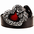Fashion male leather belt metal buckle heart of rose design punk rock belts women decorative belt hip hop girdle