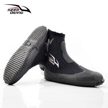 Mantener buceo 5MM de neopreno buceo botas zapatos de agua zapatos de vulcanización de invierno a prueba de frío alto superior caliente aletas de pesca submarina zapatos