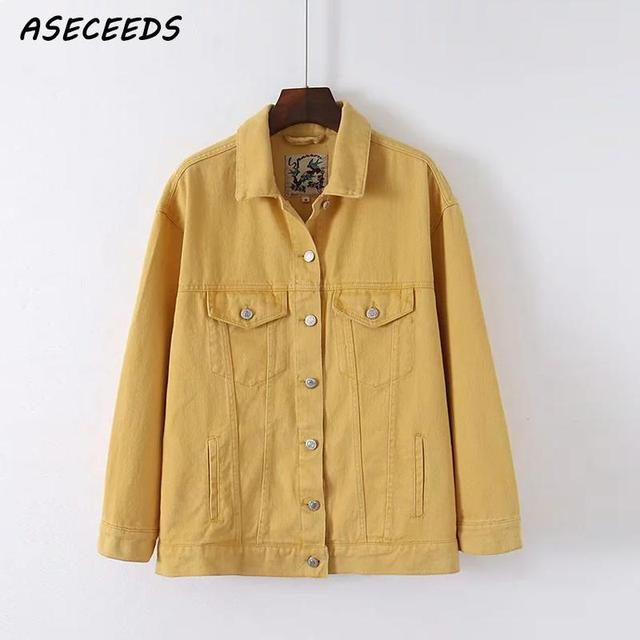 Fashion Yellow Long Sleeve Denim Jacket Streetwear Fashion Button