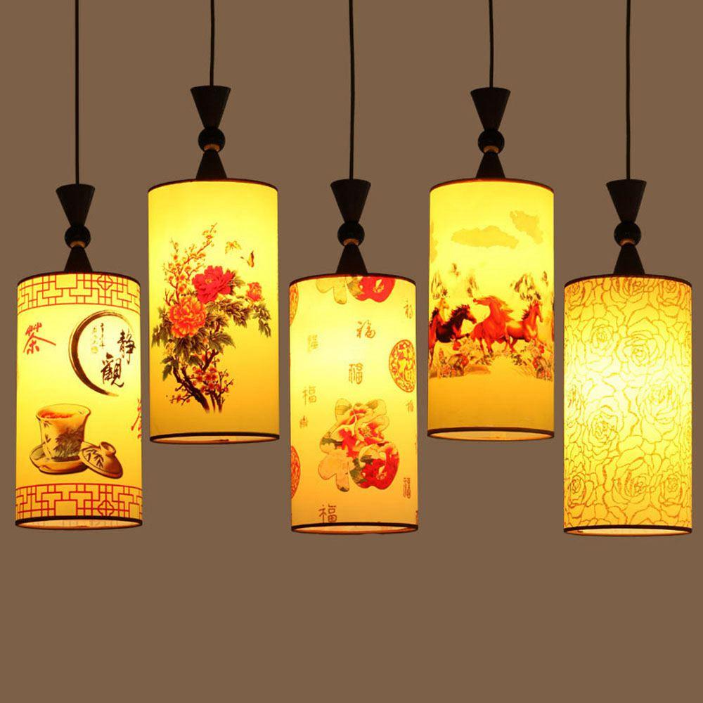 Čínská malba restaurace přívěsek lampa tradiční jídelna kuchyně přívěsek světlo balkon chodba chodba závěsná světla