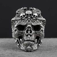 S925 Silver Skull Open Rings For Man Vintage Fashion Jewelry Gift For Your Boyfriend