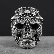 S925 Серебряный Череп открытым Кольца для человека Винтаж ювелирные изделия подарок для вашего друга